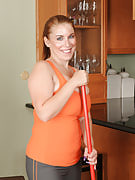 33 yr old housewife Desiree DeLuca takes a break after this girl cleaning