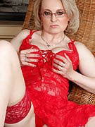 Hot golden-haired MILD Margeaux as part of spicy purple lingerie spreads her vagina