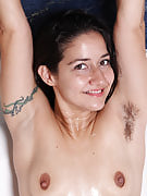Hot 30 year old brunette Miranda shaves this girl locks pits in the bathtub