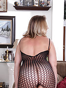Horny golden-haired MILF Chance posing sexy as part of her black fishnet figure accommodate