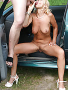 Sylvie will get her adult pussy fucked in the hood of the car