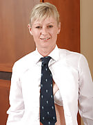 Horny 42 year old blond Nicole M strips after getting home after get the job done