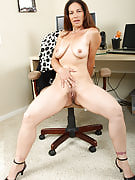 Very long haired brunette MILF displaying some hot adult rear