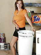 Sexy Samatha strips for the laundry and spreads for all of us