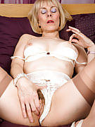 63 spring familiar Hazel pulls her knickers aside in order to display the full bush