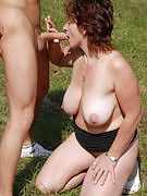 42 year older Misti takes a young tool deep outdoors at just the park