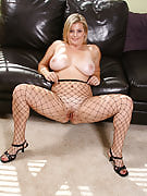Busty and big Kala in the fishnet body stocking