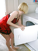 Golden-haired MILF gets hot doing laundry therefore she strips naked