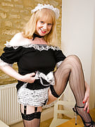 52 year familiar maid as part of fishnet stockings spreads he hot thighs