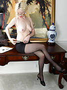 Mature office girl getting excited by us observing her undress
