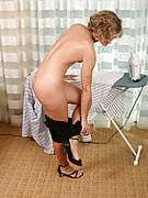 Little tittied housewife doing chores as part of the buff